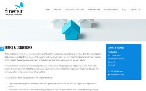 Screenshot of Terms Page finefair.com - Terms & Conditions | Estate Management London | Finefair Ltd - captured Oct. 13, 2017