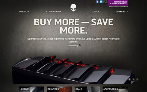Screenshot of Home Page alienware.com - Alienware - Custom Gaming Computers - PC Gaming At Its Best - captured Sept. 18, 2014