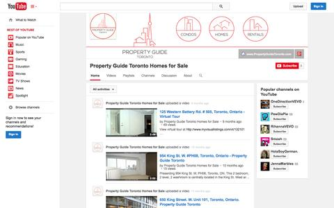 Screenshot of YouTube Page youtube.com - Property Guide Toronto Homes for Sale  - YouTube - captured Oct. 23, 2014