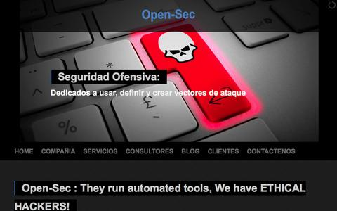 Screenshot of Home Page open-sec.com - Open-Sec : They run automated tools, We have ETHICAL HACKERS ! - captured Sept. 30, 2014