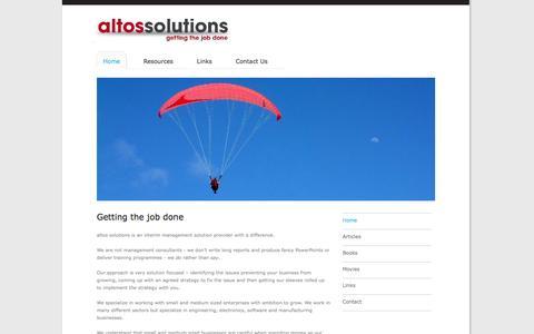 Screenshot of Home Page altossolutions.co.uk - altos solutions Interim Management - captured Oct. 4, 2014