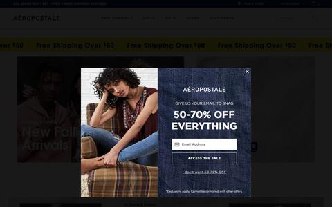 Screenshot of Home Page aeropostale.com - Guys and Girls Clothes, Hoodies, Graphic Tees and Jeans | Aeropostale - captured Sept. 15, 2018