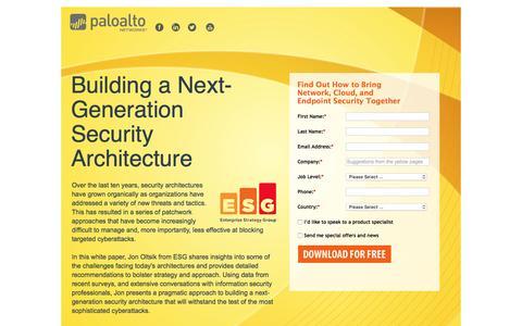 Screenshot of Landing Page paloaltonetworks.com - Building a Next-Generation Security Architecture - captured March 16, 2016