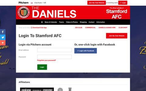 Screenshot of Login Page pitchero.com - Stamford AFC - captured April 11, 2017