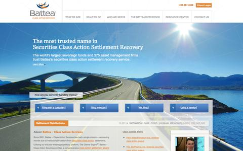 Screenshot of Home Page battea.com - Securities Class Action Services | Class Action Filing Services | Battea - captured Oct. 5, 2014