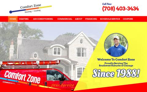 Screenshot of Home Page comfortzoneservice.com - HVAC Company Oak Lawn, IL & Tinley Park, IL, Furnace Repair Homer Glen, IL | Air Conditioning Repair & Service Orland Park, IL | Air Conditioner Service & Heating and Cooling Contractor - captured July 15, 2016
