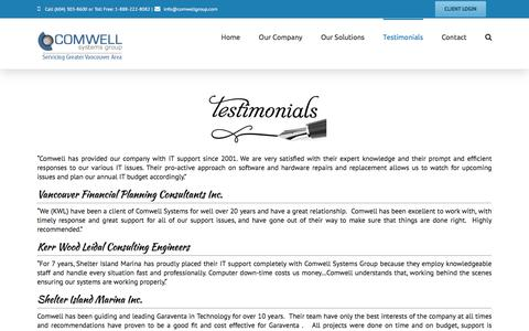 Screenshot of Testimonials Page comwellgroup.com - Network Services, IT Consulting & Outsourcing, Computer Support - Vancouver, Richmond, Burnaby | Comwell Systems Group - captured Nov. 8, 2016