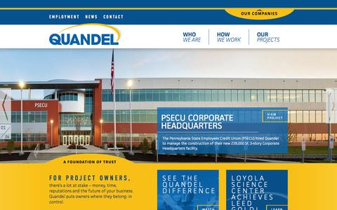 Screenshot of Home Page quandel.com - Quandel Enterprises | Experienced commercial/industrial construction - captured Oct. 2, 2014