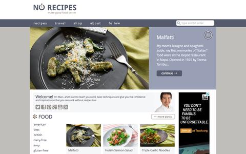 Screenshot of Home Page norecipes.com - No Recipes | techniques, inspiration and cooking tips - captured Oct. 15, 2015