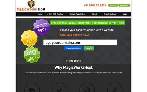 Screenshot of Home Page magicworkshost.com - Buy Web Hosting | Domain Registration | Website Hosting | Book Domain Name in India - captured Sept. 23, 2014