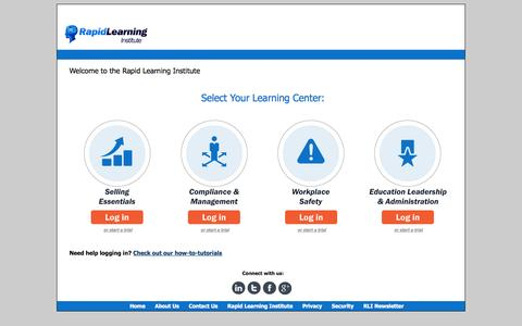 Screenshot of Login Page rapidlearninginstitute.com - Rapid Learning Institute - captured Sept. 19, 2014
