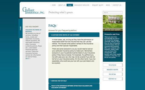Screenshot of FAQ Page gallant-insurance.com - Life & Home Insurance FAQs in Concord NH | Gallant Insurance, Inc. - captured July 14, 2017