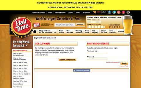 Screenshot of Login Page halftimebeverage.com - World's Largest Selection of Beer Online - Half Time - captured Oct. 18, 2016