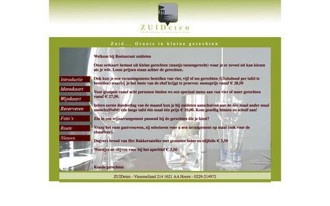 Screenshot of Menu Page zuideten.nl - Restaurant Zuid-eten Hoorn - captured Nov. 5, 2014