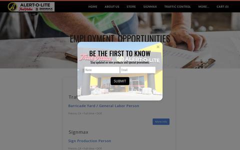 Screenshot of Jobs Page alertolite.com - Employment Opportunties California - Alert-O-Lite Inc - captured July 8, 2019