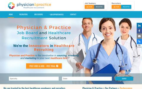 Screenshot of Home Page physicianandpractice.com - Physician Job Board and Healthcare Recruitment | Physician & Practice - captured Aug. 1, 2017