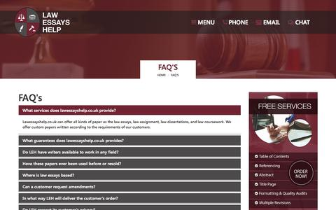 Screenshot of FAQ Page lawessayshelp.co.uk - Frequently Asked Questions – Law Essays Help - captured Oct. 1, 2015