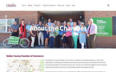Screenshot of About Page walkercochamber.com - About Us - Walker County Chamber of Commerce - captured Oct. 19, 2017