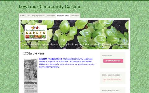 Screenshot of Press Page wordpress.com - LCG In the News – Lowlands Community Garden - captured May 29, 2016