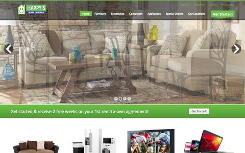Screenshot of Home Page happysnation.com - Rent to Own Furniture, TVs and Appliances - Happy's Home Centers - captured Nov. 3, 2015