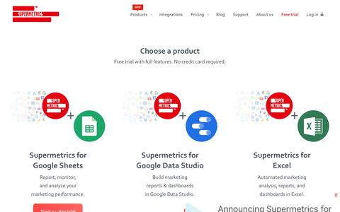 Screenshot of Trial Page supermetrics.com - Start your free trial today. Automate your boring tasks | Supermetrics - captured April 12, 2019