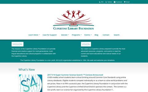 Screenshot of Home Page cupertinolibraryfoundation.org - Cupertino Library Foundation - captured May 23, 2017