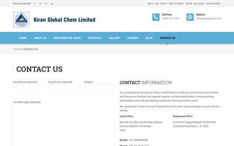 Screenshot of Contact Page kiranglobal.com - Contact Us - Kiran Global Chems Limited - captured Oct. 15, 2018