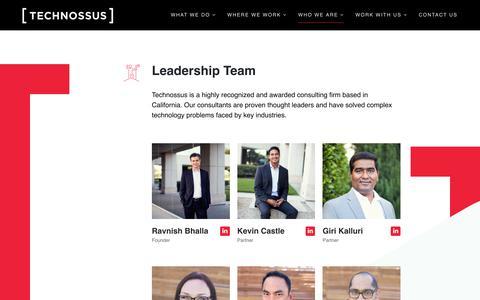 Screenshot of Team Page technossus.com - Leadership – TECHNOSSUS | Cloud Strategy & Transformation | Platform Optimization | Digital Orchestration - captured Feb. 15, 2019