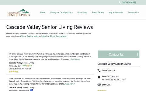 Screenshot of Testimonials Page milestoneretirement.com - Senior Living Resources | Cascade Valley Senior Living - captured Feb. 3, 2018