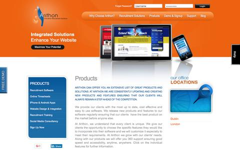 Screenshot of Products Page arithon.com - Recruiting Software | Recruitment website design | Mobile Job Apps - captured May 30, 2017