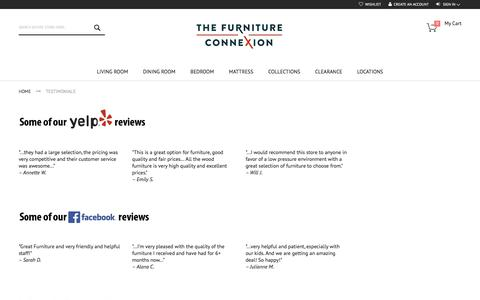 Screenshot of Testimonials Page furnitureconnexion.com - Customer Testimonials | Furniture Connexion - captured Sept. 4, 2018
