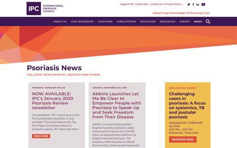 Screenshot of Press Page psoriasiscouncil.org - News Page - International Psoriasis Council - captured Feb. 10, 2020