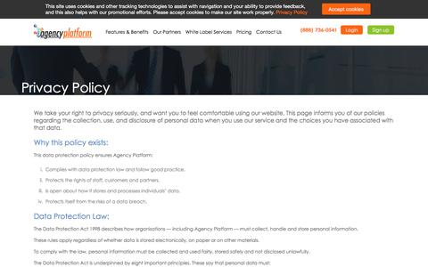 Screenshot of Privacy Page agencyplatform.com - Internet & Search Marketing Reseller Partners - Agency Platform - captured July 29, 2018