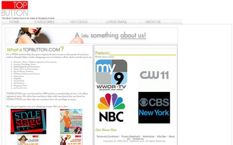 Screenshot of About Page topbutton.com - TOPBUTTON.com: NY Designer Shopping Events - NY Shopping - captured June 20, 2016