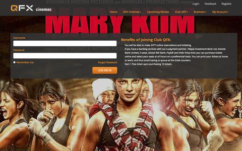 Screenshot of Login Page qfxcinemas.com - QFX Cinemas - captured Sept. 22, 2014