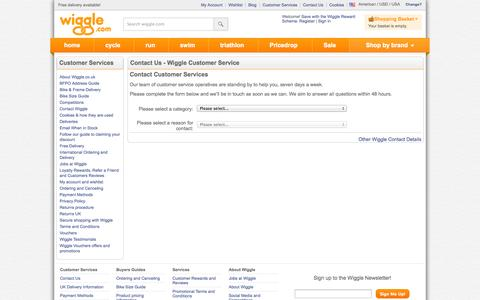 Screenshot of Contact Page wiggle.com - Wiggle Customer Services - captured Oct. 31, 2014