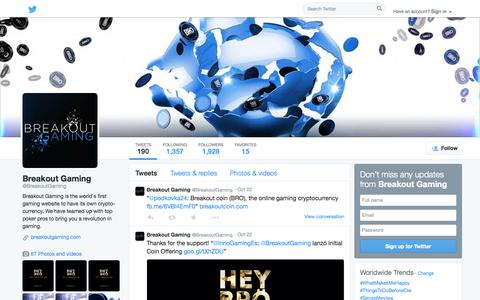 Screenshot of Twitter Page twitter.com - Breakout Gaming (@BreakoutGaming) | Twitter - captured Oct. 27, 2014