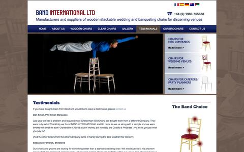 Screenshot of Testimonials Page band.co.uk - Band International wedding and banqueting chairs, testimonials from Band's customers - captured Oct. 5, 2014