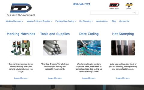 Screenshot of Home Page durable-tech.com - Marking Equipment | Marking Tools | Part Marking | Durable Technologies - captured Oct. 13, 2017