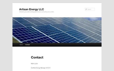 Screenshot of Contact Page wordpress.com - Contact   Artisan Energy LLC - captured Sept. 12, 2014
