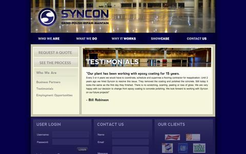 Screenshot of Testimonials Page synconinc.com - Syncon Inc - Testimonials - captured Sept. 30, 2014