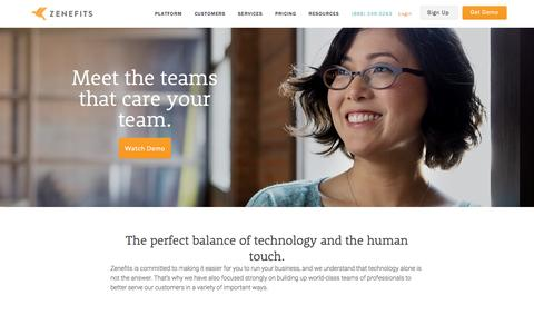 Screenshot of Services Page zenefits.com - Services and Support | Zenefits - captured Oct. 18, 2016