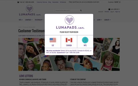 Screenshot of Testimonials Page lunapads.com - Customer Testimonials | Lunapads.com - captured July 20, 2015