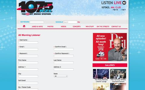 Screenshot of Signup Page 1075kzl.com - 1075 KZL - All Morning Listener - captured Sept. 23, 2014