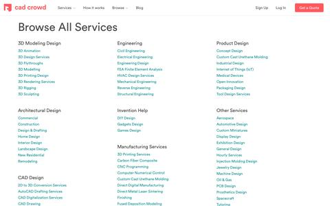 Screenshot of Services Page cadcrowd.com - All Services | Cad Crowd Product Design & 3D Modeling Freelance - captured July 12, 2018