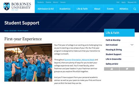 Screenshot of Support Page bju.edu - Student Support | Bob Jones University - captured Dec. 10, 2017