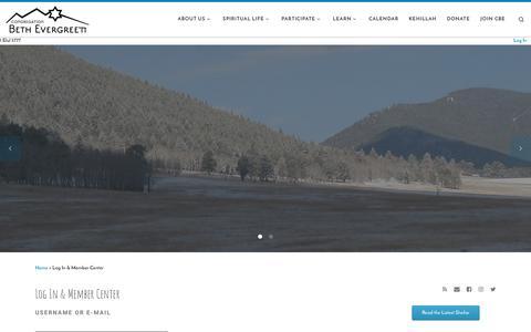 Screenshot of Login Page bethevergreen.org - Log In & Member Center – Congregation Beth Evergreen - captured Aug. 23, 2017