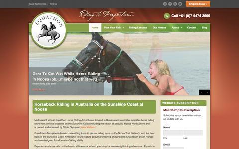 Screenshot of Home Page equathon.com - Equathon Horse Riding Tours Sunshine Coast | Equathon - captured Oct. 8, 2014