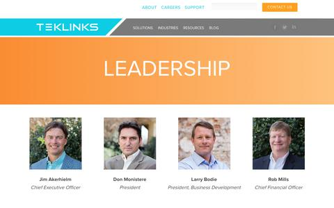 Screenshot of Team Page teklinks.com - Teklinks Leadership - captured July 30, 2017