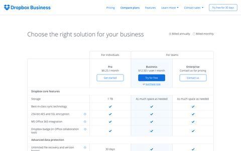 Screenshot of Pricing Page dropbox.com - Dropbox plan comparison - Dropbox Business - captured Oct. 20, 2016